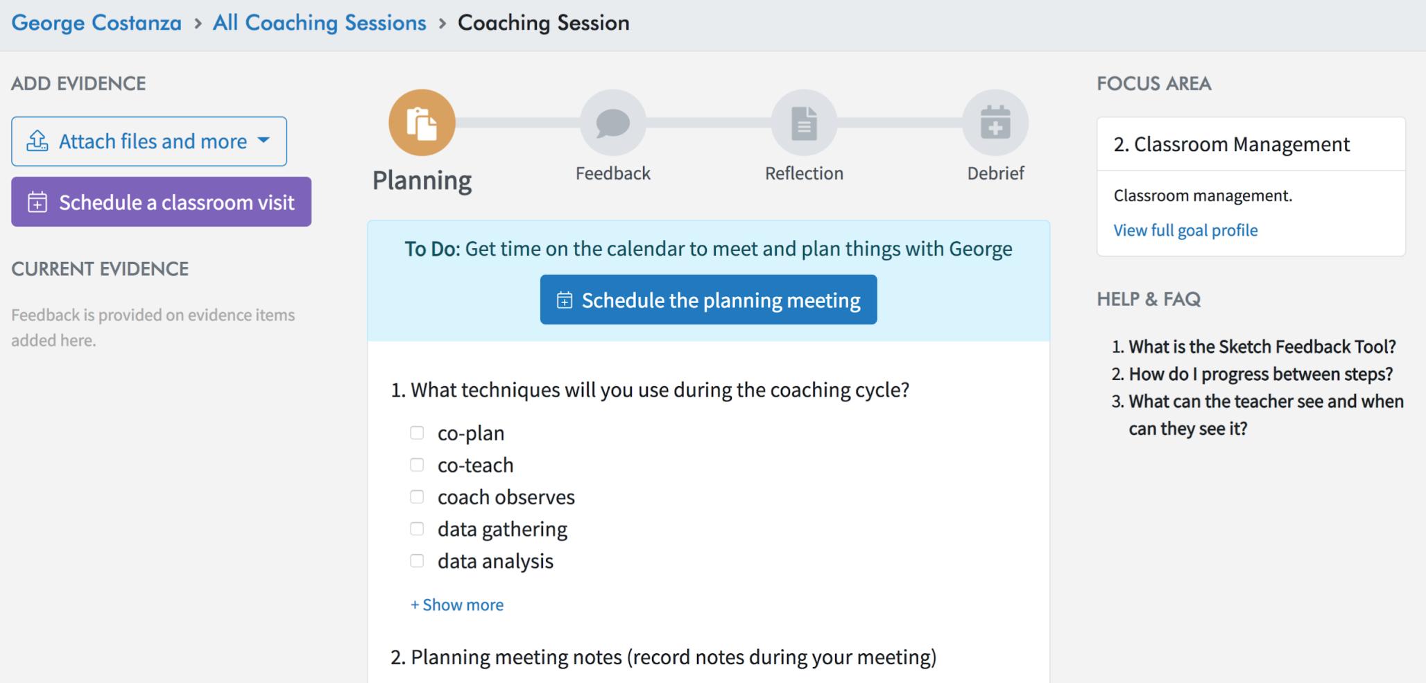 Coaching cycles on TeachBoost Coach
